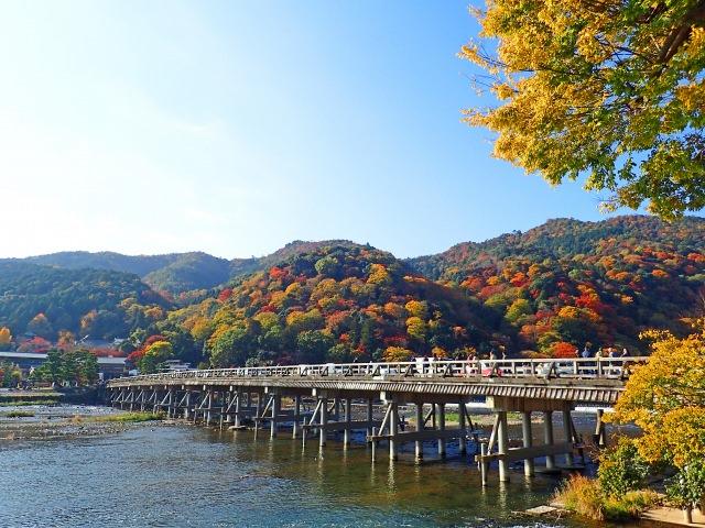 8. 선명한 가을 산을 한눈에 볼 수 있는 명소 '도게츠교'