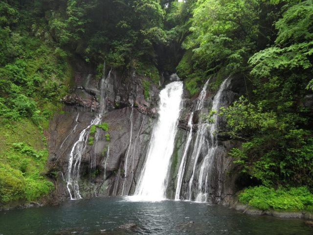 8. 原生林で覆われた絶壁から流れる一筋の白い水流「白水の滝」