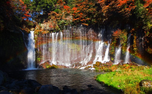 Natural Beauty created by Multiple tiered Falls with Gorgeous Autumn Foliage at Shiraito Falls